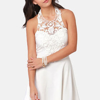 What a Crush Ivory Lace Halter Dress