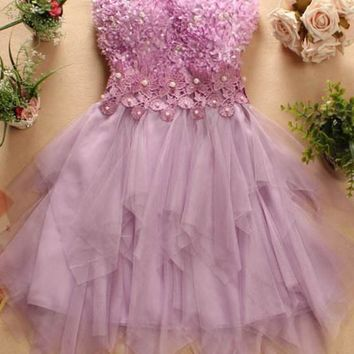 Purple Patchwork Irregular Grenadine Bandeau Beading Homecoming Mini Dress