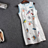 White Birds Print Sleeveless Zipper Dress