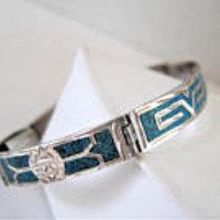 Mexico Sterling Bracelet, Turquoise  Inlaid,  Stamped