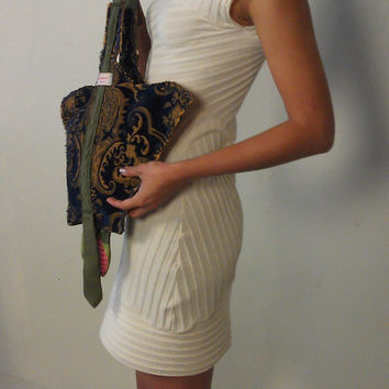 Flexible, One of a Kind Reversible Distressed Upholstery Fabric Ginger Lou Handbag with Vintage Silk Japanese Tie Strap