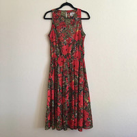 Vintage Fall Floral Dress / Thin Sleeveless Pull-On Elastic Waist / Darian Red Green Full-Length / Fits like Medium to Large