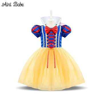 Aini Babe Baby Costume For Kids Infant Party Dress Girl Vestido Toddler Girl 1 2 Years Birthday Princess Snow White Theme Dress