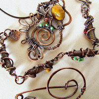 Custom Wirewrapped Copper Jewelry Set with Client Found Material