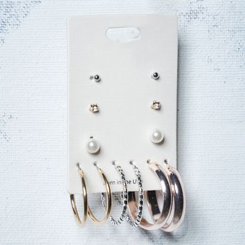 Various Stud & Demi-Hoop Earrings Set