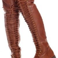 BROWN FAUX LEATHER SIDE ZIPPER OVER THE KNEE HIGH BOOTS