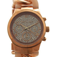 MK4283 Chronograph Runway Twist Blush and Rose Gold-Tone Stainless Steel Watch by Michael Kors (Women)