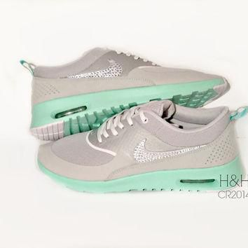 Women's Nike Air Max Thea in Grey and Green Glow with Swarovski crystal detail-last pa