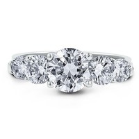 Sterling Silver 925 Round Prong-Set Cubic Zirconia CZ 5-Stone Ring #r290