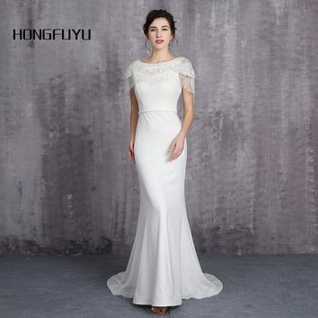 100% Real Sample Elegant Scoop Neck Cap Sleeves Long Prom Dresses 2018 Zipper Tassel Mermaid Beading Prom Dress HFY111603