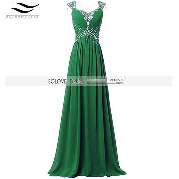 Solovedress Sexy V Neck Real Photos Crystal Green Long Prom Dress 2016 Cap Sleeves Evening Gown Sequin  Vestidos De fiesta SLP07