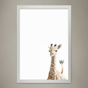 Baby GIRAFFE Animal Print Nursery wall decor, Wall Art for Children's room, Baby Room Decor, Watercolor Animal Illustrations