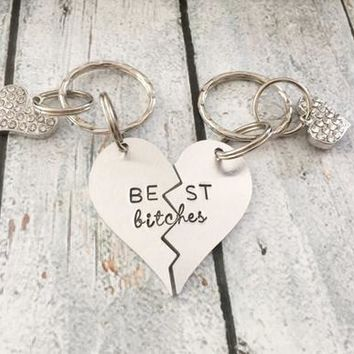 Best friends keychain - Hand stamped keychain -