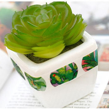 Green plant washi tape 10M green leaves Succulent potted plant green garden deco sticker tape plant diary gardening planner tape decor gift