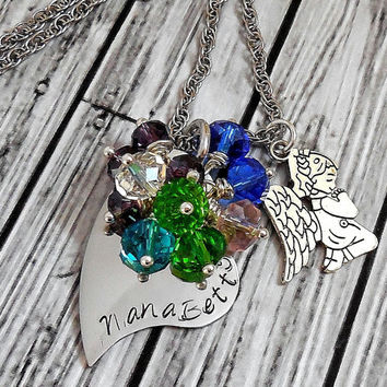 Personalized Mothers Birthstone Necklace With Praying Angel , Stainless Steel Hand Stamped Grandmother Necklace / Personalized Necklace
