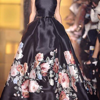 Best Quality New Fashion Formal Gown Dress 2015 Autumn Women Floral Print Slim Fit Floor Long Maxi Dress Event Occasions