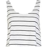 Black and white stripe cropped boxy vest - crop t-shirts - t shirts / vests / sweats - women