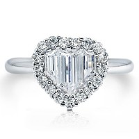 Sterling Silver Cubic Zirconia CZ Heart Shape Fashion Ring #r201