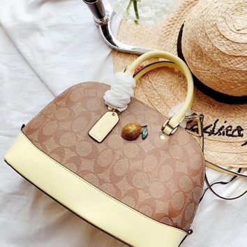 COACH 2019 new color matching three-dimensional pattern shell bag shoulder bag yellow