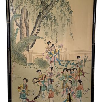Vintage Chinese Silk Painting Framed in Faux Bamboo