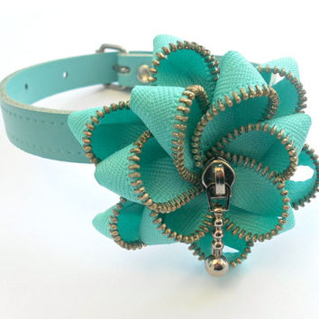 Dog leather blue Collar and zipper Flower- handmade.
