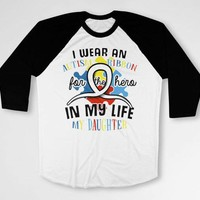 Autism Awareness T Shirt Support Ribbon Autism Dad Autistic Gifts Mom TShirt Puzzle Piece Speaks For My Daughter Baseball Raglan Tee DN-681