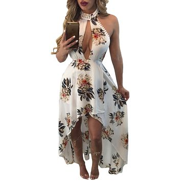 White Floral Print High-low Halter Maxi Boho Dress