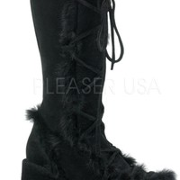 Black Suede Demonia Go Go Furry Rave Boots
