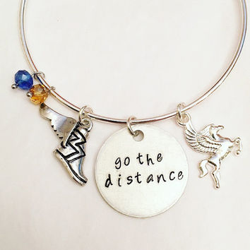 Go the Distance Hercules Disney Inspired Stamped Adjustable Bangle Charm Bracelet
