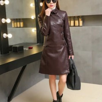 Fashion 2016 Trending Fashion Leather Women Slim Slim Skinny  Sweater Cardigan Coat Jacket Outerwear Windbreaker _ 9501