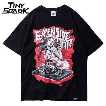 Sexy Bloody Nurse Skull Printed T-Shirt Hip Hop Summer Men Casual Tees Shirt Cotton Fashion Skateboards Street wear T shirts