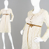 Vintage 60s DOLLYROCKERS Two Piece Mini Dress & Cream Lace Jacket 1960s Mod Dress 60s Boho Dress Peter Pan Collar Wedding Outfit Sambo Dress