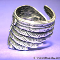 925 Detailed Angel Wing ring -  feather ring, solid Sterling Silver ring jewelry, for men and women 102312