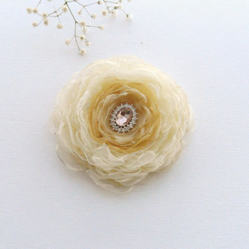 Organza Flower Brooch - Fabric Flower - Corsage Brooch - Gold Champagne Flower - Party Wedding Accessory
