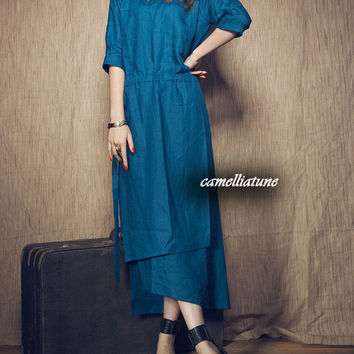 Layered Maxi Dress in Blue / pleated long dress for women (Custom Made)