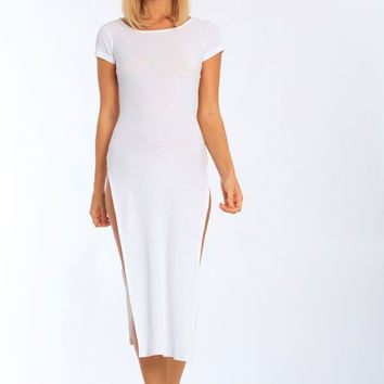 Miami Style® - High Side Slit Long Rib Cover Up Dress