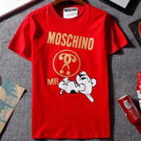 MOSCHINO PUPPY 2018 new men and women fashion short sleeve F-GQHY-DLSX red