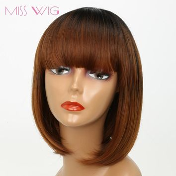 short wig Brown Straight Bob Hair Short Wigs for Black Women Synthetic Wig High Temperature Fiber