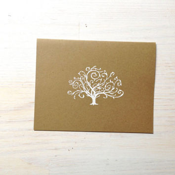 Tree Notecard Set: 5 Cards, With White Envelopes, Embossed, Kraft, Stationary, Gift, Blank, Cards, Paper Goods, Supplies