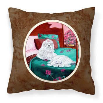 Maltese and puppy waiting on you Fabric Decorative Pillow 7110PW1414