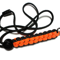 Paracord Lanyard Id Holder Men Unisex Black Orange Military Grade 7 Strand 550 Cord Breakaway Clasp Cord Adjuster Handmade