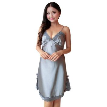 Hot Sale Women 2018 Sexy Lingerie Night Dress Mini Nightgowns Deep-V Straps Solid Color Skirts Silk Lace Sleepwear Femme W13