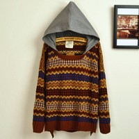A 082725 Retro hit color embroidered big yards sweater-887