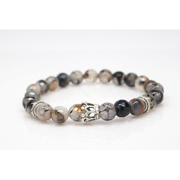 Agate Stone Unisex Beaded Bracelet with Crown Charm