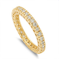 925 Sterling Silver CZ Yellow Gold-Tone Plated Stackable Eternity Round Ring 3MM