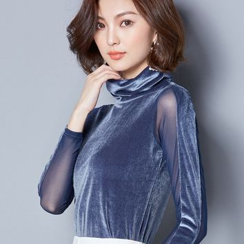 Chicloth Sexy Hollow High Collar Suede Botycon Blouse