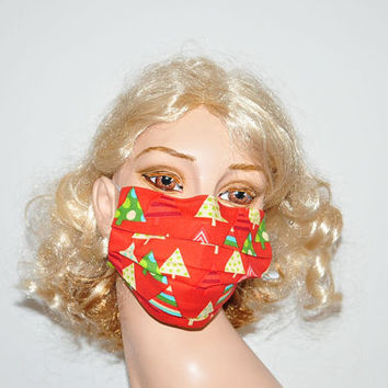 Designer Flu mask, Christmas Trees, Stocking stuffer, red cotton mask, Holiday mask, cold protection