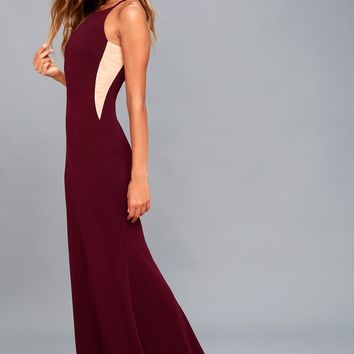 Romanticism Burgundy Maxi Dress