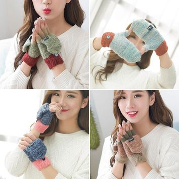 Women's Flip top Fingerless Mitten Chunky Knitted Gloves cuff winter Cute warm Gloves Patchwork green blue brown Female fashion