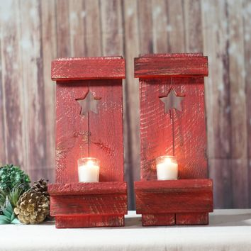 Red Primitive Star, Rustic Wall Hanging Sconce